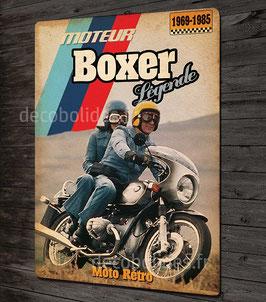 Plaque métal déco 31x21cm, Moto vintage BMW moteur boxer par déco bolides.
