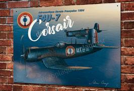 Artwork warbird Corsair F4U-7 aéronavale Française imprimée sur plaque métal décorative, illustration Julien Camp.