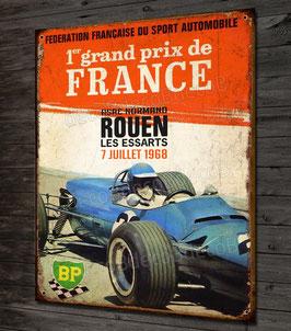 Plaque métal déco vintage Grand prix de france , Rouen 1968 par déco bolides.