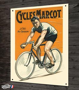 Plaque métal déco, Cycles MARCOT, reproduction affiche vintage et cyclisme vélo rétro.