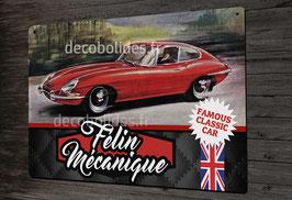 """Plaque métal déco 31x21cm """" Félin mécanique """" jaguar type-E"""