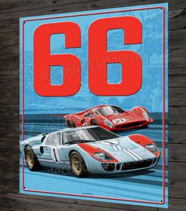 Artwork plaque métal déco Duel Ford GT40 et ferrari 330 P3 Le Mans 66, Daytona, Sebring.