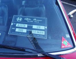 Plaque identité véhicule en alu, personnalisée pour votre Renault, peugeot, Alfa, Porsche, citroen , Fiat, Mazda, MG, jaguar, Chevrolet etc...