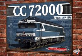 """Plaque métal déco Locomotive Diesel-électrique CC 72000 """"nez cassés"""" Train SNCF"""