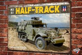 Plaque métal déco M3A1 Half-Track débarquement Normandie D-Day 1944 WW2