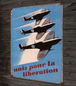"""Plaque métal  déco avions """"libération"""" mustang et spitfire seconde guerre mondial par Déco-bolides"""