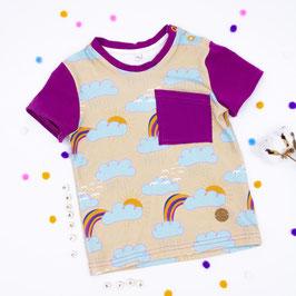 T- Shirt Regenbogenwolken mit Brusttasche