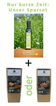 Unser Sparset: Regionales 250 ml leckeres Bio-Leinöl aus BW + Backmischung