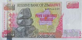 ジンバブエ共和国500ドル   未使用