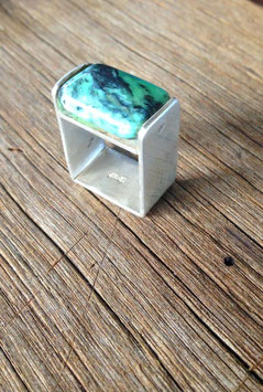 Turquoise square ring silver