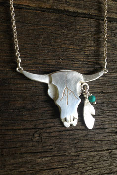 Feather and Bull Totem necklace -silver on chain