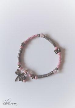 Glasarmband rosa, bronze, Libelle