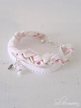 Armband Textil, Spitze, weiss rosa