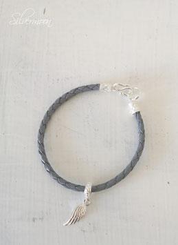 Armband Leder grau, 925 Silber Feder