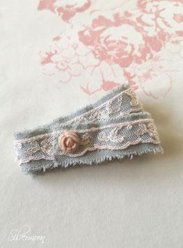 Wickelarmband Spitze, graublau rosa