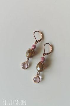 Ohrringe rosé vintage grün, rosa