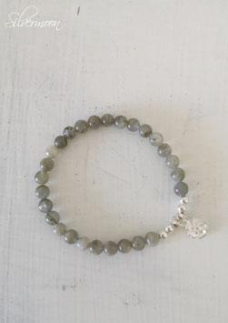 Armband Labradorith, 925 Silber Blume
