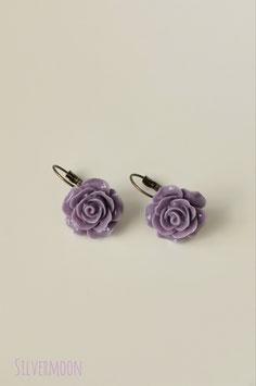 Ohrringe Rosen lila