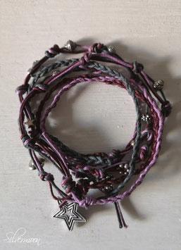 Wickelarmband geknüpft, violett, grau, aubergine
