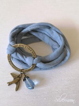 Elastisches Armband blau, Ring, Schwalbe