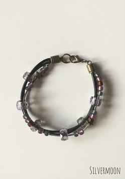 Armband Leder, Glasperlen, schwarz, grau, lila