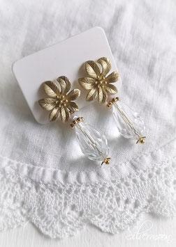 Ohrstecker Blume, mattes gold, Glastropfen