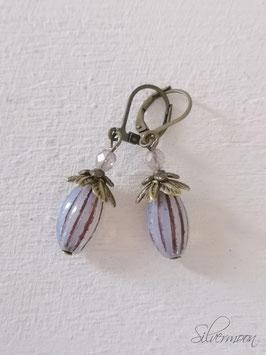 Ohrringe ovale Glasperlen, lila