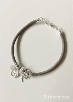 Armband Leder, 925 Silber, taupe, Libelle, Blume
