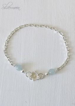 Armband 925 Silber,  Blume, Jade