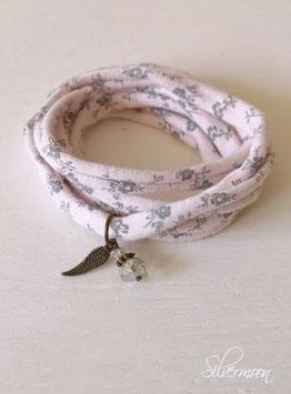 Wickelarmband rosa, grau, Engelsflügel