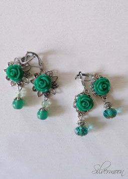Ohrringe grüne Rosen auf silbern