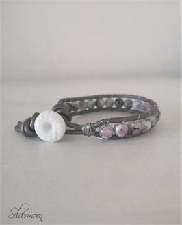 Armband Leder, Glas, grau, Marmorperlen