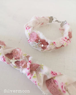 Armband aus Stoff, Spitze rosa creme