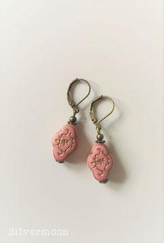 Ohrringe rosa, goldener Zweig