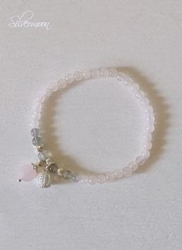 Armband Rosenquarz, Labradorith, Krone