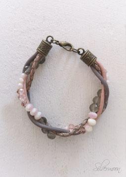 Armband Leder, Perlen, taupe, rosa