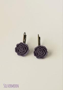 Ohrringe Rosen dunkelviolett