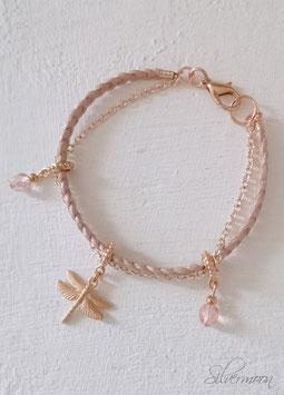 Armband Leder, roségold, Libelle