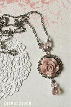 Kette silbern, grosse Rose rosa