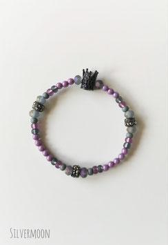 Armband lila, grau, Krone