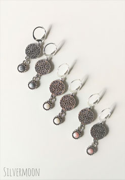 Ohrringe silbern Ornament mit Emailleanhänger