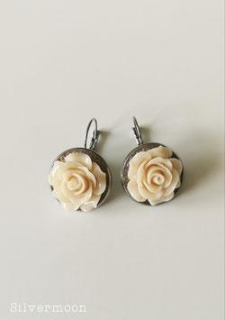 Ohrringe grosse Rosen nude mit Rocailles