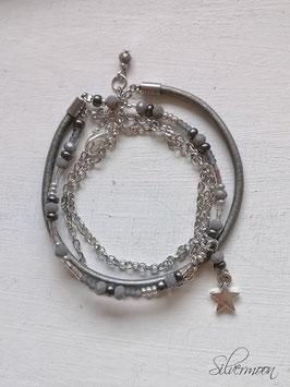 Wickelarmband Leder, Glas, Metall, grau