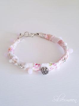 Armband textil rosa, Perlen bestickt