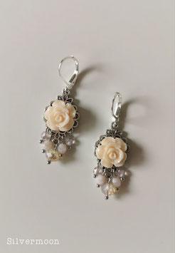 Ohrringe Röslein abricot silbern, Perlen