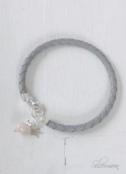 Armband Leder grau, 925 Silber, Stern