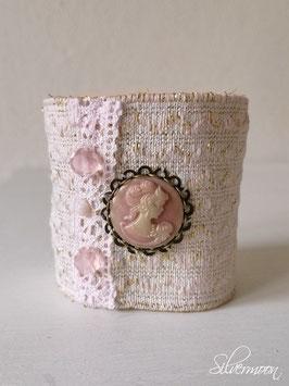 Armband elastisch rosa, Kamee rosa