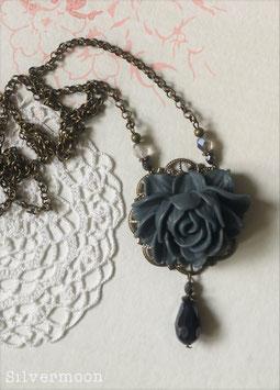 Kette Messing, grosse Rose dunkelgrau