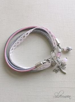 Wickelarmband rosa, grau Libelle