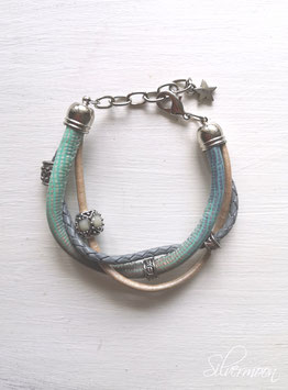 Armband Leder, mehrreihig, aqua, grau, beige